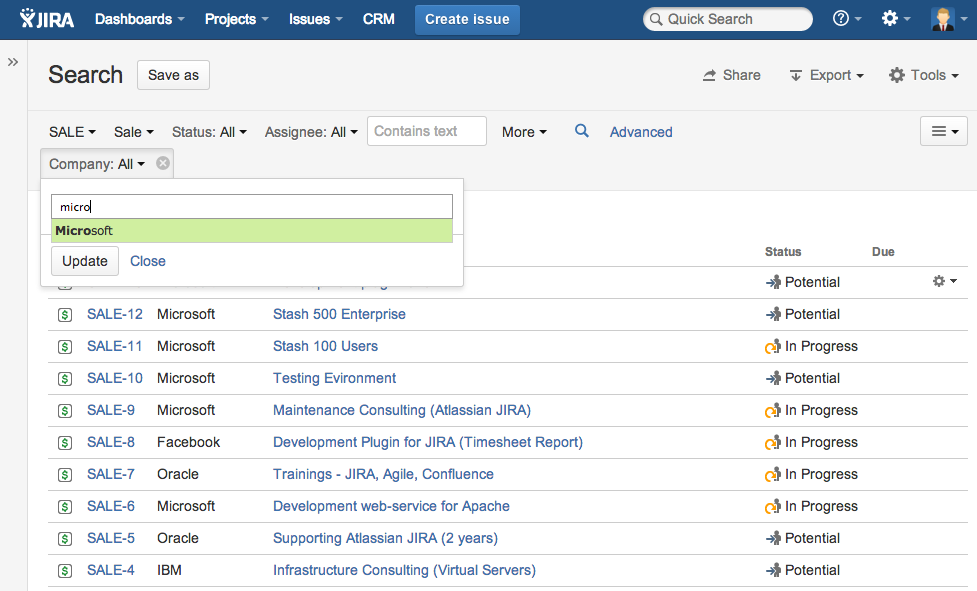 Search - CRM for JIRA (EN) - Teamlead Wiki