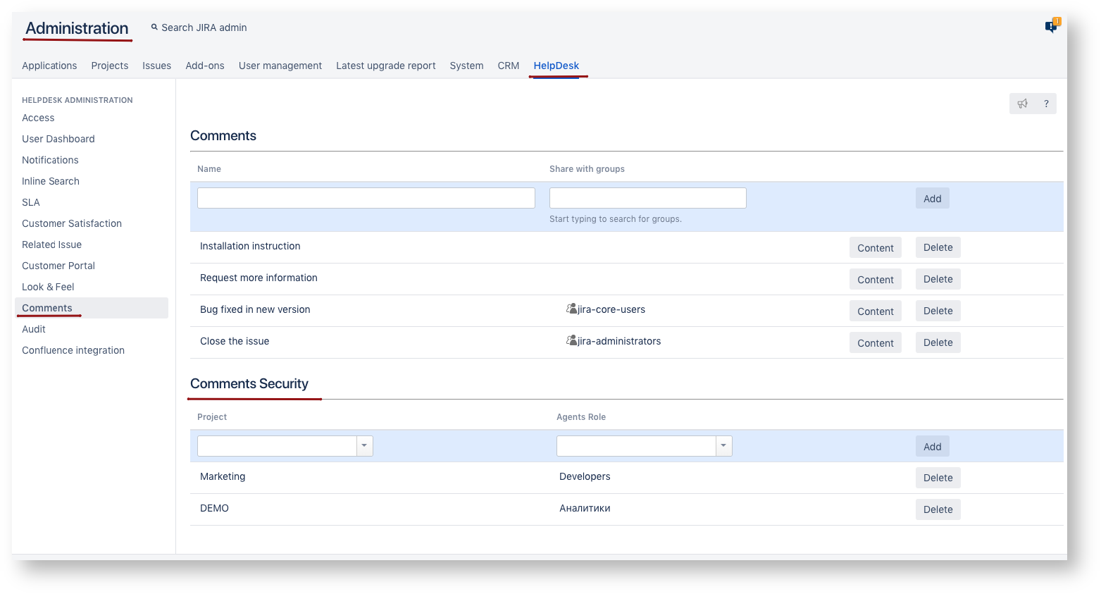 Comments Security - Help Desk for Jira 1 9 9 - Teamlead Wiki